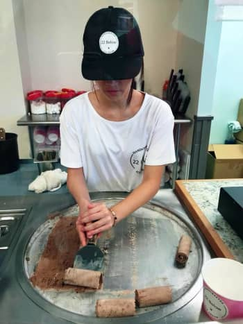 Thai rolled ice cream at 22 Below
