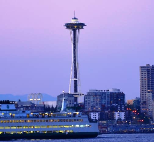 Space Need at dusk in Seattle