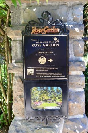 Woodland Rose Garden sign - Seattle