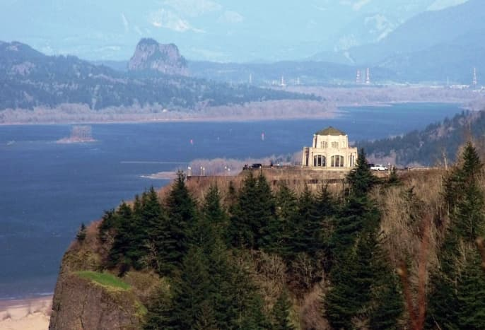 Vista House perched high above the Columbia River