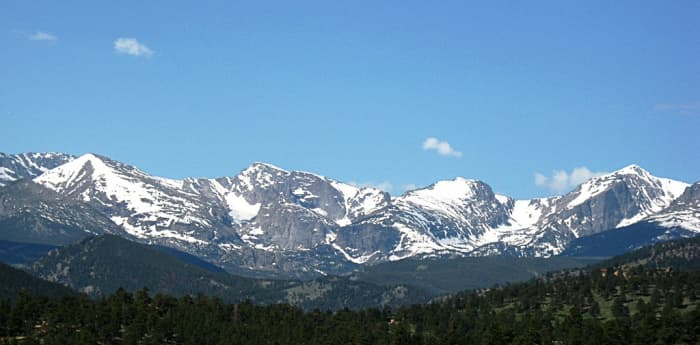 View from Estes Park, CO of Rocky Mountain National Park