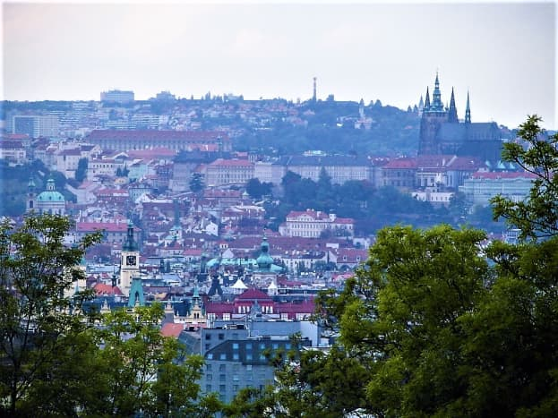 A glimpse of Prague in the distance.