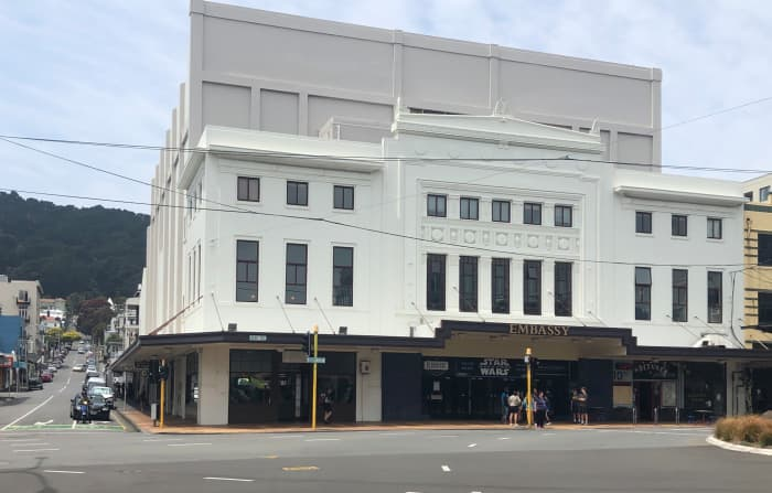 The Embassy Theatre is located at the base of Mt Victoria.