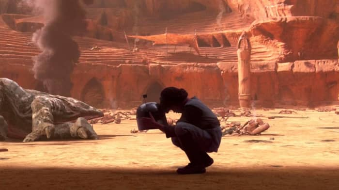 Young Boba with Jango's head
