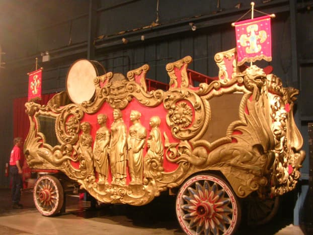 The bandwagon carried the circus band in the parade that preceded the performance, when the circus came to town. The wagon is an exhibit in the Circus Museum, part of the Ringling Museum in Sarasota, Florida.