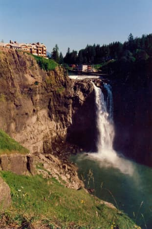 A purchased photo at the Salish Lodge (no credit nor copyright on the photo) showing the lodge and Snoqualmie Falls