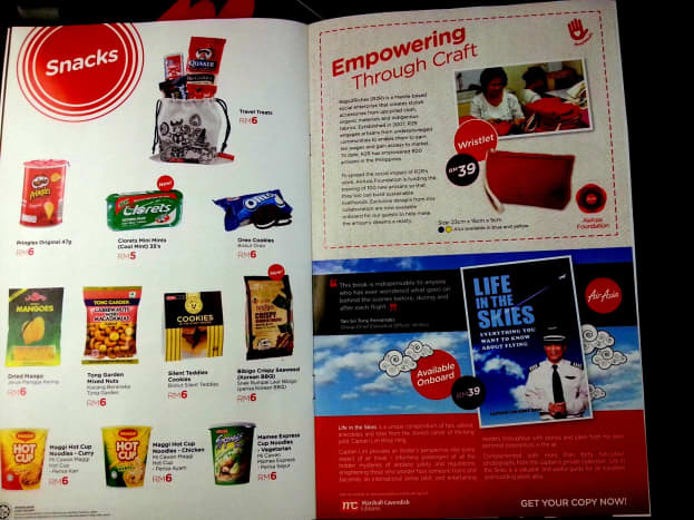 Air Asia's snacks and book by Capt Lim that are sold on board. Updated as of January 2014