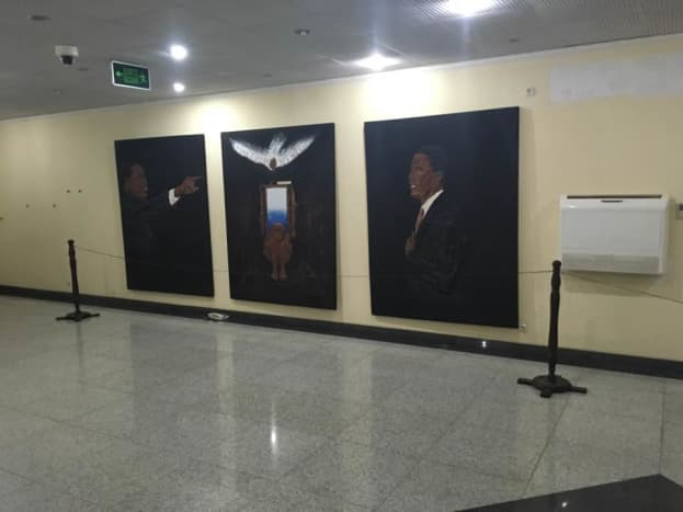 Barck Obama and Martin Luther King as portrayed in the museum