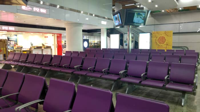 Waiting area after security and border checks. It's pretty spacious, as you can see.