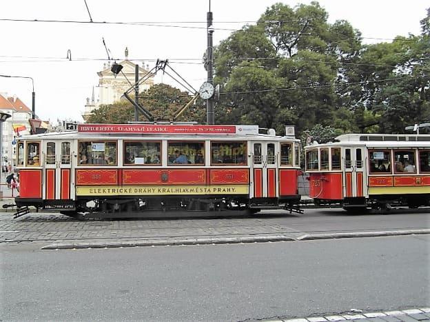 A tram in Charles Square, Prague.