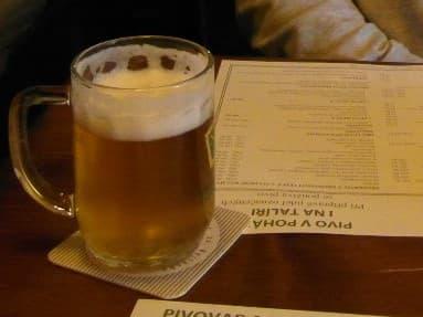 A small beer in Pivovarsky Dum, Prague.