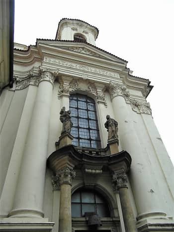 The exterior of the Cathedral of St. Cyril and St. Methodius, Prague.