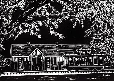 My original linocut of the M-K-T Caboose & Railroad Depot in Katy, TX