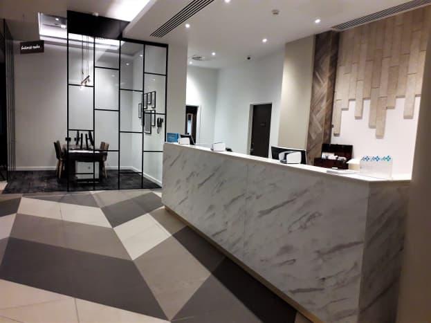 Pre-COVID-19 reception desk, October 2018.