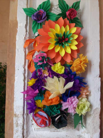 Entrace to the indoor market in Mahon. Menorca flower festival May 2018.