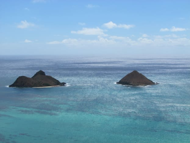 Mokulua Islands, as seen from the pillboxes