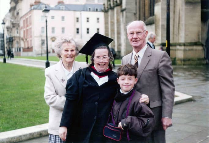 My wife attending Bristol Cathedral for her Graduation Ceremony from University for passing her degree as a mature student; standing outside the Cathedral with her parents and son.