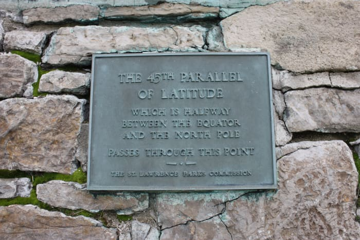 A monument located on MacDonell Island marks the 45th Parallel of Latitude.. It is the exact halfway point between the North Pole & The Equator.