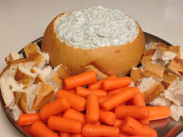Spinach dip with carrots- spinach and carrots are both good sources of beta carotene
