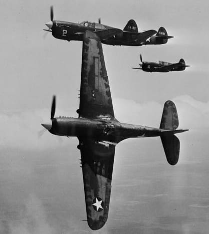 World War II P-40 Fighters in training at Moore Field, Texas 1943.  Photo courtesy of Library of Congress.