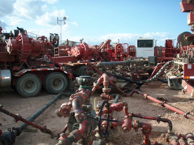 Halliburton fracking operation in the Bakken Formation, North Dakota, USA.  Anti-frackers argue that the industry is disruptive and harmful to the areas that they work in.  In some circumstances, the process can even cause earthquakes, they argue.