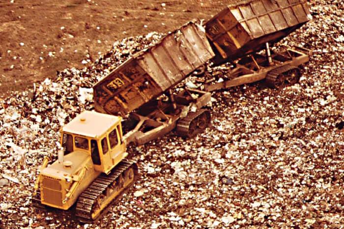 A dump truck does its job at Fresh Kills.