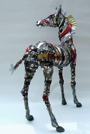 Barbara Franc's zebra made of biscuit tins