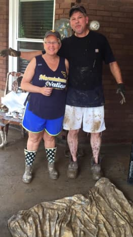 Despite the decimation and chaos, Sherry Cole remained a smiling force throughout the cleanup efforts of her home.