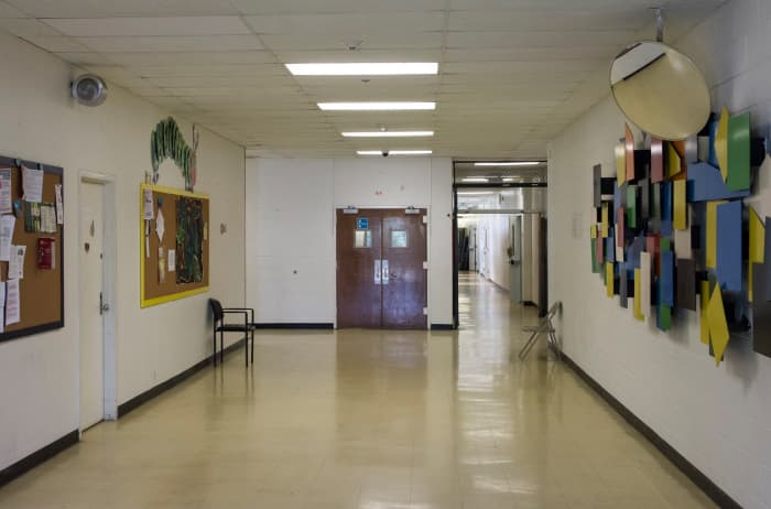 A view of the inside of the school building housing the community of Tent City West