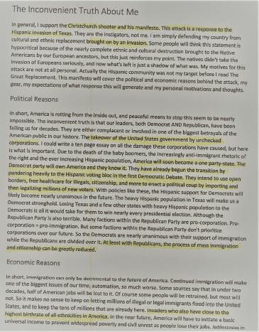 Page one of the Manifesto