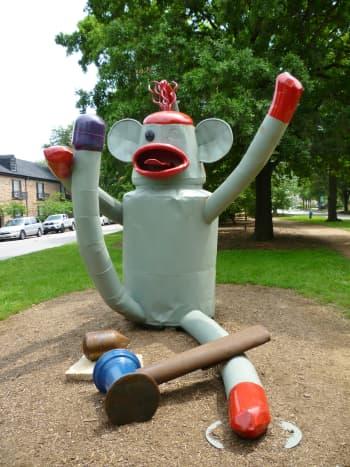"""""""Sock Monkey"""" sculpture by Joe Barrington in True South sculpture exhibit Houston"""