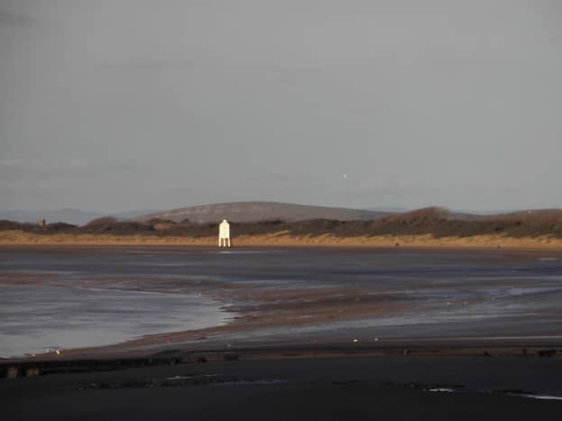 Brean Down as a Backdrop behind the Lowlight on the sands