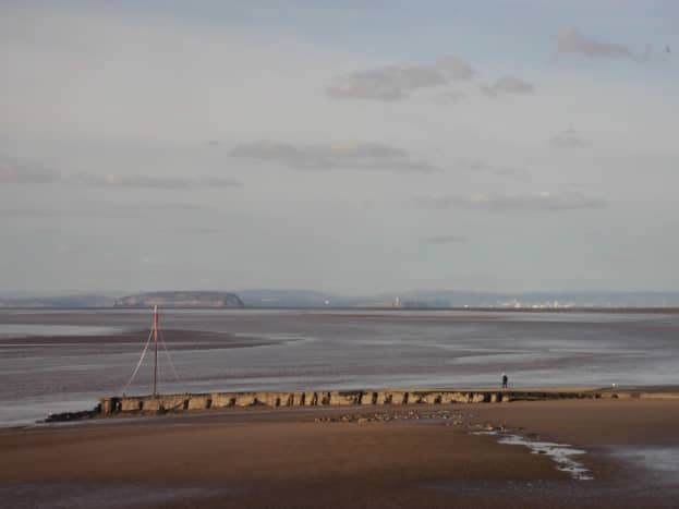 Across to Wales, with the islands of Steep Holm (down stream) & Flat Holm (upstream) in the Estuary