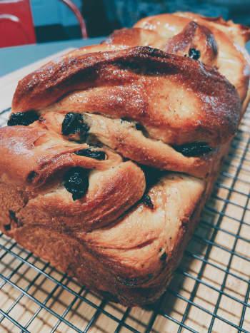 Homemade cinnamon-raisin bread is delicious.