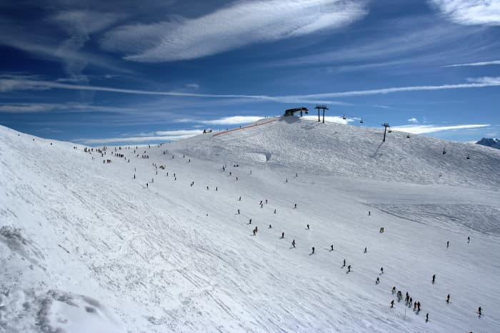 The beautiful ski slope that was used during the alpine skiing event.