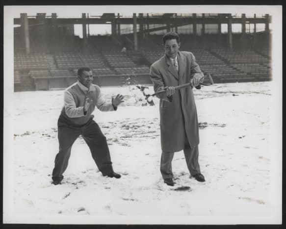 Roy Campanella and Furillo mugging for the cameras in the off-season. Campy and Carl were best friends off the field as well.
