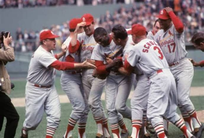 1967 World Series - Cards celebrate at Fenway Park.