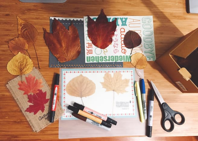 Making bookmarks out of leaves is a fun autumn craft.