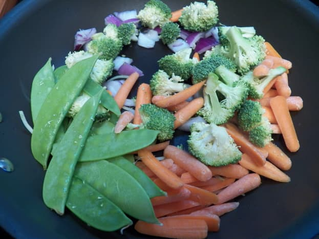 Packaged fresh Chinese vegetables. Cut up so pieces are the same size.