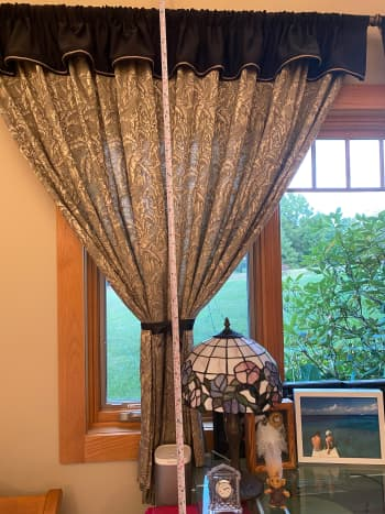 Determine the final length of your curtain.  I need to shorten purchased 84 inch curtains to 56 inches.