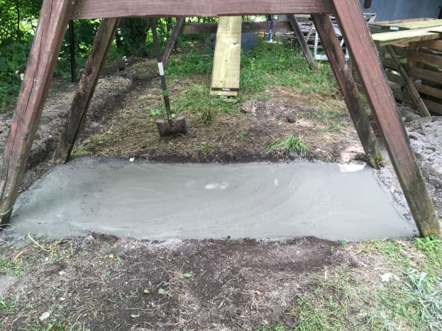 Concrete floor for the duck house