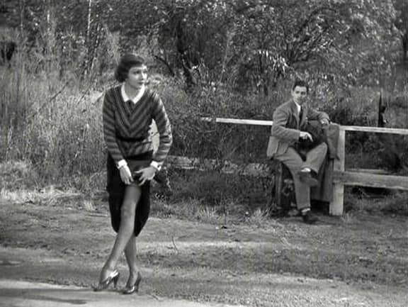 """Claudette Colbert with Clark Gable in """"It Happened One Night"""""""