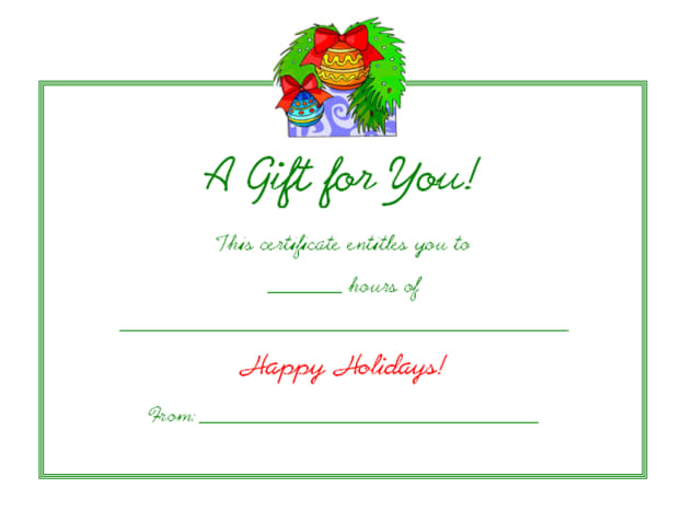 Free blank colorful Christmas ornament holiday gift certificate.