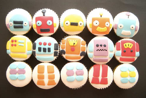 Kids of all ages will want to attack these robot cupcakes