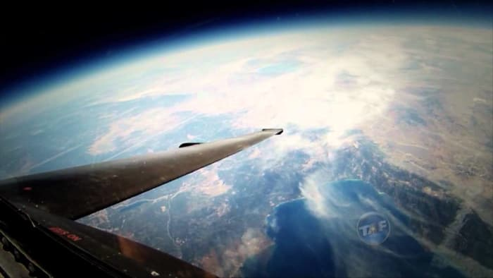 A view of earth from the cockpit of a U-2 flying at an altitiude of over 70,000 ft.