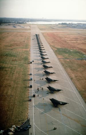 22 F117 Nighthawk Stealth fighters lined up and ready for deployment in the first Gulf War over 42 were sent to Saudi Arabia.