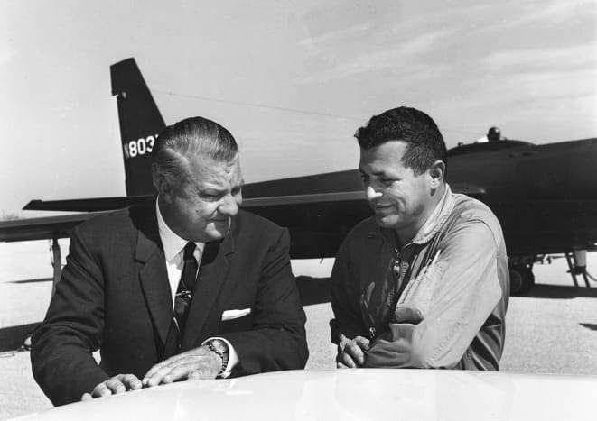Kelly Johnson joined Lockheed in 1933 would lead the research at Skunk Works for over 42 years. Kelly Johnson and Gary Powers in front of a U-2 a high altitude spy plane designed to overfly the Soviet Union.