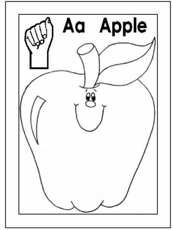 Sign Language Alphabet Free Coloring Pages - Apple to Ice - Letter A