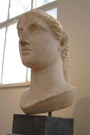 Massive head of Athena, perhaps originally part of a cult statue. (Classical statue by Eubulides, late 5th c?)
