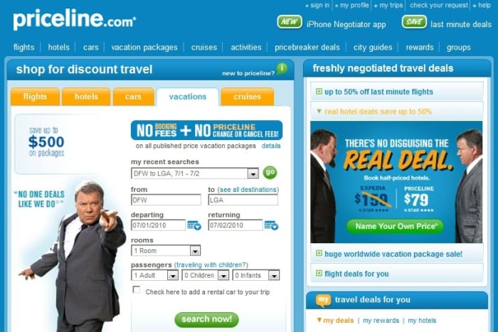 Priceline Website: www.priceline.com